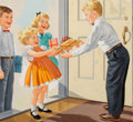 Fine Art - Work on Paper, Richard Wiley (American, 20th Century). Birthday Party, Dick and Jane illustration. Gouache on board. 7-3/4 x 8 inches (...