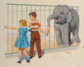 Fine Art - Work on Paper, Richard Wiley (American, 20th Century). At the Zoo, Dick and Jane illustration. Gouache on paper. 6-1/2 x 7-1/2 inches (...