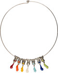Jewelry, Arman (French/American, 1928-2005). Paint Tube Necklace, designed 2001. Stainless steel, silver-plated enameled brass. 7...