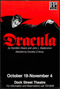 """Movie Posters, Dracula (Footlight Players, c.1980s). Rolled, Very Fine. TheatrePoster (30"""" X 40"""").. ..."""