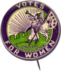 """Political:Pinback Buttons (1896-present), Woman's Suffrage: Boldly Colored """"Six Star"""" Trumpeter Button.. ..."""