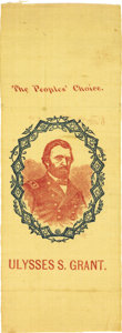 "Political:Ribbons & Badges, Ulysses S. Grant: Colorful ""People's Choice"" Portrait Ribbon on Yellow Silk. . ..."