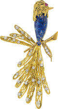 Estate Jewelry:Brooches - Pins, Diamond, Multi-Stone, Platinum, Gold Brooch, French. ...