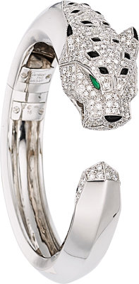 Diamond, Emerald, Black Onyx, White Gold Bracelet, Cartier, French