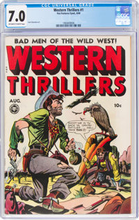 Western Thrillers #1 (Fox Features Syndicate, 1948) CGC FN/VF 7.0 Off-white to white pages