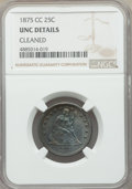 Seated Quarters, 1875-CC 25C -- Cleaned -- NGC Details. Unc. Briggs 1-A....