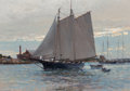 Fine Art - Painting, American:Contemporary   (1950 to present), Christopher Blossom (American, b. 1956). Home from Southern Seining. Oil on board. 8 x 10 inches (20.3 x 25.4 cm). Signe...