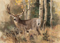 Fine Art - Painting, American:Contemporary   (1950 to present), Ken Carlson (American, b. 1937). Stag in the Woods. Oil on board. 13 x 18 inches (33.0 x 45.7 cm). Signed lower right: ...