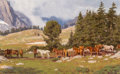 Fine Art - Painting, American:Contemporary   (1950 to present), Tucker Smith (American, b. 1940). The Picket Line, Wind River Mountain, Wyoming, 1990. Oil on Masonite. 12-1/2 x 20-1/8 ...