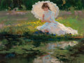 Fine Art - Painting, American:Contemporary   (1950 to present), Coby Whitmore (American, 1913-1988). Girl by a Lagoon, 1984. Oil on canvas. 18 x 24 inches (45.7 x 61.0 cm). Signed and ...