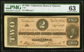 Confederate Notes:1864 Issues, T70 $2 1864. PF-4 Cr. 566 PMG Choice Uncirculated 63.. ...