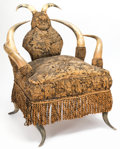 Furniture , An American Upholstered Longhorn Armchair, late 19th century-early 20th century. 32 x 27-1/2 x 27 inches (81.3 x 69.9 x 68.6...