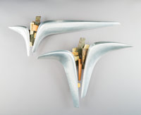 20th Century School Untitled (pair) Mixed metal wall sculpture, each 11-1/4 x 14 x 4 inches (28.6