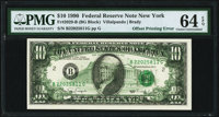 Full Back to Face Offset Error Fr. 2029-B $10 1990 Federal Reserve Note. PMG Choice Uncirculated 64 EPQ