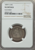 1859-S 25C -- Cleaned -- NGC Details. VG. NGC Census: (2/19). PCGS Population: (9/82). CDN: $500 Whsle. Bid for problem-...