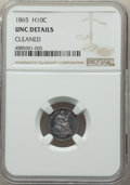 Seated Half Dimes, 1865 H10C -- Cleaned -- NGC Details. Unc. NGC Census: (0/39). PCGS Population: (2/49). CDN: $950 Whsle. Bid for problem-fre...