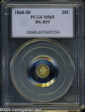 California Fractional Gold: , 1860/50 25C Liberty Round 25 Cents, BG-819, R.4, MS63 PCGS. ...