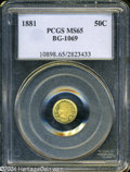 California Fractional Gold: , 1881 50C Indian Round 50 Cents, BG-1069, High R.4, MS65 PCGS. ...