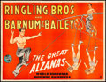 "Movie Posters:Miscellaneous, Ringling Bros. and Barnum & Bailey: The Great Alzanas (1950s).Fine+ on Linen. Circus Poster (27"" X 20.5""). Miscellan..."