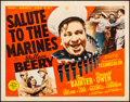 """Movie Posters:War, Salute to the Marines (MGM, 1943). Fine/Very Fine on Linen. HalfSheet (22"""" X 28"""") Style A. War.. ..."""