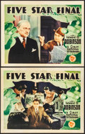 """Movie Posters:Drama, Five Star Final (First National, 1931). Fine+. Lobby Cards (2) (11""""X 14""""). Drama.. ... (Total: 2 Items)"""