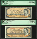 World Currency, Canada Bank of Canada $50 1954 BC-42b Two Consecutive Examples PCGS Choice About New 58PPQ.. ... (Total: 2 notes)