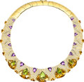 Estate Jewelry:Necklaces, Diamond, Multi-Stone, Gold Necklace. ...