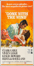 """Movie Posters:Academy Award Winners, Gone with the Wind (MGM, R-1968). Folded, Fine/Very Fine. ThreeSheet (41"""" X 78.5"""") & Uncut Pressbook (16 Pages, 12.2..."""