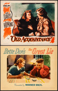 "Movie Posters:Drama, The Great Lie & Other Lot (Warner Brothers, 1941). Very Fine-.Linen Finish Lobby Card & Lobby Card (11"" X 14""). Dram..."