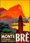 "Movie Posters:Miscellaneous, Monte Brè (c. 1930s). Rolled, Very Fine-. Full-Bleed ItalianLanguage Swiss Travel Poster (27.5"" X 36.25"") Ernst Otto..."