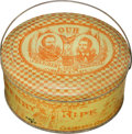 Political:3D & Other Display (pre-1896), Hayes & Wheeler: Colorful Jugate Inauguration Tin Collar Box....