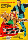 """Movie Posters:Drama, The Quiet Man (Republic, 1952). Folded, Fine/Very Fine. FrenchGrande (46"""" X 63"""") Clement Artwork. Drama.. ..."""
