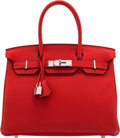 """Luxury Accessories:Bags, Hermès 30cm Rouge Tomate Togo Leather Birkin Bag with Palladium Hardware. T, 2015. Condition: 1. 12"""" Width x 8"""" He..."""