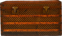 """Moynat Brown Coated Canvas Vintage Steamer Trunk Circa 1922 Condition: 4 39"""" Width"""