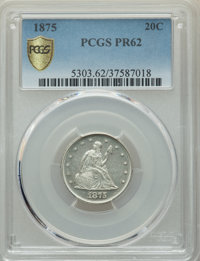 1875 20C PR62 PCGS Secure. PCGS Population: (76/188 and 0/1+). NGC Census: (43/135 and 0/1+). PR62. Mintage 1,200. ...(P...