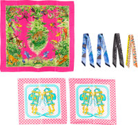 Hermès Set of Seven: Equateur Scarf, Brides de Gala Scarves & Twilly Scarves Condition: 1 See Ext