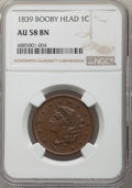 Large Cents, 1839 1C Booby Head AU58 NGC. NGC Census: (9/64). PCGS Population: (24/79). CDN: $600 Whsle. Bid for problem-free NGC/PCGS A...