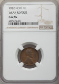 Lincoln Cents, 1922 1C Weak Reverse Good 6 NGC. PCGS Population: (71/954). CDN: $120 Whsle. Bid for problem-free NGC/PC...