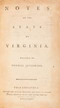 Books:Americana & American History, Thomas Jefferson. Notes on the State of Virginia. Philadelphia: Printed and Sold by Prichard and Hall, 1788. Rare fi...
