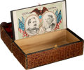 Political:3D & Other Display (pre-1896), Cleveland & Thurman and Harrison & Morton: Cigar/Game Box with Jugate Paper Labels.. ...