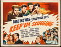 "Movie Posters:Comedy, Keep 'Em Slugging & Other Lot (Universal, 1943). Rolled,Fine/Very Fine. Half Sheets (3) (22"" X 28""). Comedy.. ... ..."