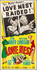 "Movie Posters:Comedy, Love Nest (20th Century Fox, 1951). Very Fine on Linen. Three Sheet(41.5"" X 79""). Comedy.. ..."