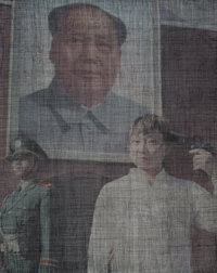 Ma Yanling (Chinese, b. 1966) Tian'anmen-c, 2008 Giclee and acrylic on canvas 50 x 39-1/2 inches