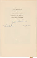 Autographs:Authors, John Steinbeck Signed Copy of Speech Accepting the Nobel Prize in Literature Stockholm, December 10, 1962. . ...