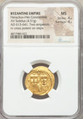 Ancients:Byzantine, Ancients: Heraclius (AD 610-641) and Heraclius Constantine. AV solidus (21mm, 4.51 gm, 8h). NGC MS 4/5 - 4/5....