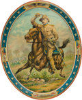 Political:3D & Other Display (1896-present), Theodore Roosevelt: Colorful Rough Rider Tin Tray.. ...