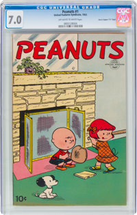 "Peanuts #1 Davis Crippen (""D"" Copy) Pedigree (United Feature Syndicate, 1953) CGC FN/VF 7.0 Off-white to white..."