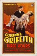 Movie Posters:Drama, Three Hours (First National, 1927). Very Fine- on Linen.