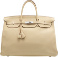 "Luxury Accessories:Bags, Hermès 40cm Parchment Clemence Leather Birkin Bag with Palladium Hardware. N Square, 2010. Condition: 2. 15.5"" Wid..."