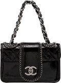 """Luxury Accessories:Bags, Chanel Black Patent Leather Mini Madison Flap Bag with Silver Hardware. Condition: 1. 7"""" Width x 4"""" Height x 3"""" Depth..."""